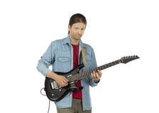 Gitarzysty mężczyzna z gitarą elektryczną Obraz Royalty Free