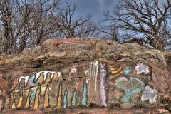 Gitchee Manitou är en natursylt på den Iowa/South Dakota gränsen som är ökänd för mord av barn royaltyfria bilder