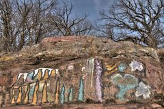 Gitchee Manitou is a Nature Preserve on the Iowa/South Dakota border Infamous for murders of children.  Royalty Free Stock Images