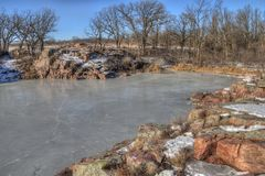Gitchee Manitou is a Nature Preserve on the Iowa/South Dakota border Infamous for murders of children.  royalty free stock image