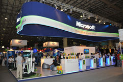 GITEX 2009 - Pavillion Microsoft- Windows7 Stockbild