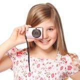 Gitrl met digitale camera stock afbeeldingen