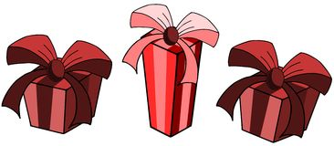 Isolated gifts in red isolated Royalty Free Stock Photos