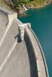 Gittaz Roselend dam. View over Roselend Gittaz dam in the french Alps Royalty Free Stock Photo