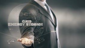 Gitter-Energie-Speicher mit Hologrammgeschäftsmannkonzept stock footage