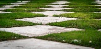 Gitter-Garten mit Gras-und Viererkabel-weißen Fliesen lizenzfreie stockfotos