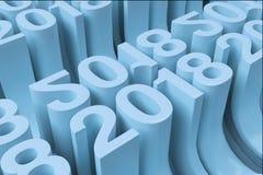 Gitter von blauen neuen 2018-jährigen Zahlen Lizenzfreie Stockfotos