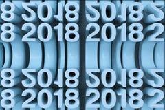 Gitter von blauen neuen 2018-jährigen Zahlen Stockbild