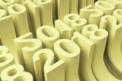 Gitter von gelben neuen 2018-jährigen Zahlen Lizenzfreies Stockfoto