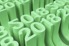 Gitter von grünen neuen 2018-jährigen Zahlen Stockfoto