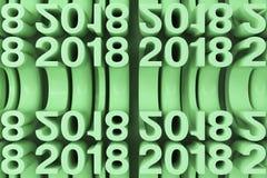 Gitter von grünen neuen 2018-jährigen Zahlen Stockbilder