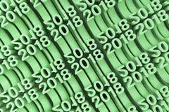 Gitter von grünen neuen 2018-jährigen Zahlen Lizenzfreie Stockfotos