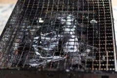 Gitter wird für Grilllebensmittel, Holzkohlenofen benutzt lizenzfreie stockbilder
