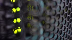 Gittertür des modernen Servergestells Server-Hardware, Vernetzung stock video