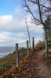 Gitterzaun durch Küste Stockfoto