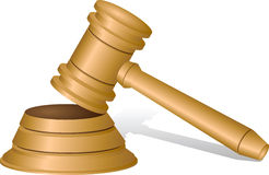 Giudica il martelletto su bianco Immagini Stock Libere da Diritti