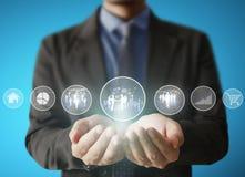 Giudicando icona virtuale della rete sociale disponibila Immagine Stock