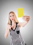 Giudice della donna contro la pendenza Fotografia Stock Libera da Diritti