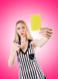 Giudice della donna contro la pendenza Fotografie Stock Libere da Diritti
