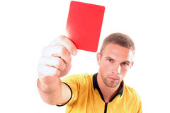 Giudice di gioco del calcio con la scheda Immagini Stock