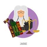 Giudice Icon con le scale e Gavel Fotografie Stock Libere da Diritti