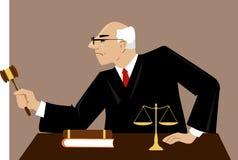 Giudice in un'aula di tribunale illustrazione vettoriale
