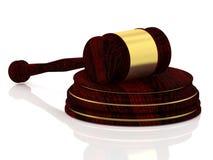 Giudichi il martelletto con le decorazioni dorate - martelletto di legno - concetto di legge Fotografie Stock Libere da Diritti