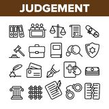 Giudizio, linea sottile insieme di vettore di processo della corte delle icone illustrazione di stock