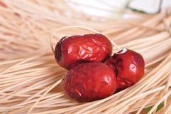 Giuggiola rossa fresca--un alimento del cinese tradizionale Fotografia Stock Libera da Diritti