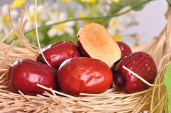Giuggiola rossa--un alimento del cinese tradizionale Fotografie Stock Libere da Diritti