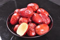 Giuggiole rosse--un alimento del cinese tradizionale fotografia stock