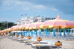 5 giugno 2016 bella Rimini vista della spiaggia dell'Rimini-Italia- sopra Fotografia Stock Libera da Diritti