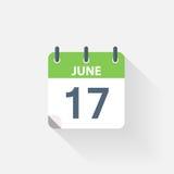 17 giugno icona del calendario Fotografia Stock