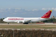 10 giugno 2005: Jumbo-jet diretto di viaggio Immagini Stock Libere da Diritti