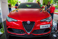 Giulia d'Alfa Romeo rouge photos stock