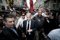 Giuliano pisapia at republic festivity in Milan. MILAN, ITALY - JUNE 2, 2011: Thousands of people take part to the celebration of the republic. Among the Stock Photo