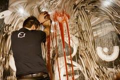 Giulio Masieri, современный художник, выполняя Стоковое Фото
