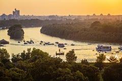 Giunzione dei fiumi Sava ed il Danubio a Belgrado Immagine Stock Libera da Diritti