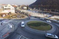 Giunzione della rotonda a Banska Bystrica Fotografie Stock