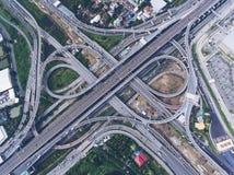 Giunzione della strada principale dalla vista aerea Fotografia Stock Libera da Diritti