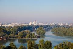 Giunzione di Sava e di Danubio a Belgrado, Serbia Immagini Stock Libere da Diritti