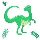 Giurassico predatore del mostro dell'illustrazione di vettore del dinosauro del fumetto di Dino del rettile preistorico animale p Immagine Stock Libera da Diritti
