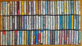 Audio cassette collection royalty free stock image