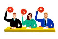 Giuria di quiz Il gruppo del giudice della concorrenza che si siede ai segnapunti della tavola, di stima e di opinione di manifes illustrazione di stock