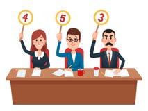 giuria Segnapunti di manifestazione del gruppo dei giudici con l'opinione o il punteggio di valutazione Giudice sul quiz, vettore illustrazione di stock