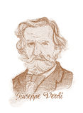 Giuseppe Fortunino Francesco Verdi Engraving Style Sketch Portrait Stock Photo