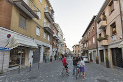 Giuseppe Garibaldi old street with residential buildings in Rimini, Italy. Royalty Free Stock Photography