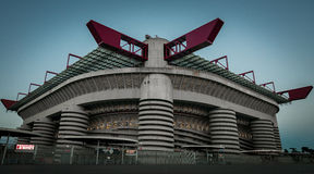 Giuseppe Meazza San Siro Stadium in Milan. Low view from outside of one the most famous soccer stadium of the world San Siro from Milan, Italy royalty free stock photos
