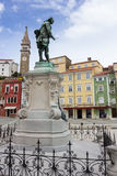 Giuseppe Tartini statue in Tartini Square, Piran Stock Photography