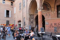 Giuseppe Verdi square in Bologna, Italy Royalty Free Stock Photo